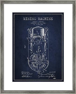 Mining Machine Patent From 1914- Navy Blue Framed Print by Aged Pixel