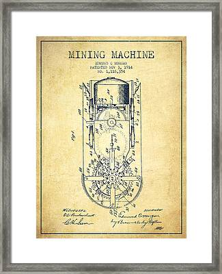 Mining Machine Patent From 1914- Vintage Framed Print by Aged Pixel