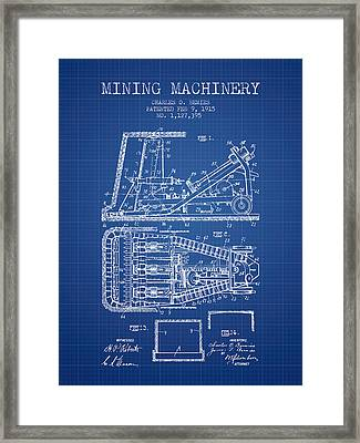 Mining Machinery Patent From 1915- Blueprint Framed Print by Aged Pixel