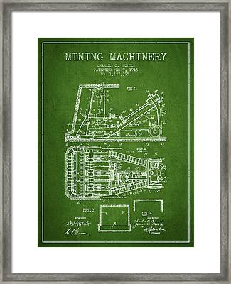 Mining Machinery Patent From 1915- Green Framed Print by Aged Pixel