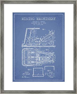Mining Machinery Patent From 1915- Light Blue Framed Print by Aged Pixel