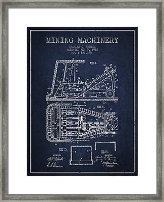 Mining Machinery Patent From 1915- Navy Blue Framed Print by Aged Pixel