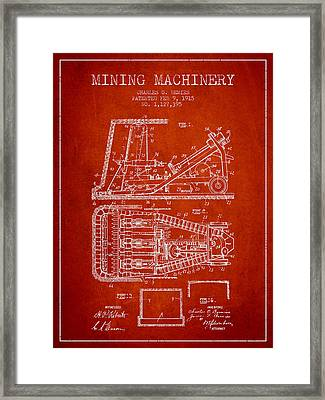 Mining Machinery Patent From 1915- Red Framed Print by Aged Pixel