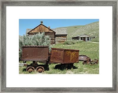 Mining Rail Cars Bannack Montana Framed Print by Bruce Gourley