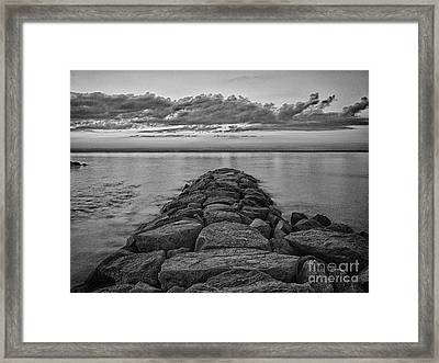 Mink Meadow Jetty In Black And White Framed Print by Mark Miller