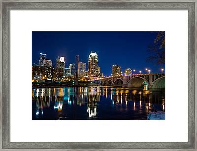 Minneapolis City Lights Framed Print by Mark Goodman