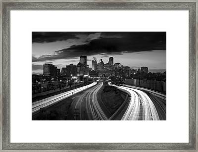 Minneapolis  M N Skyline B W Framed Print by Steve Gadomski
