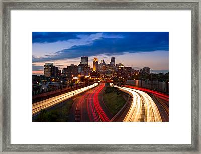 Minneapolis  M N Skyline Framed Print by Steve Gadomski