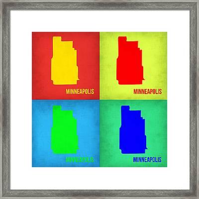 Minneapolis Pop Art Map 1 Framed Print by Naxart Studio