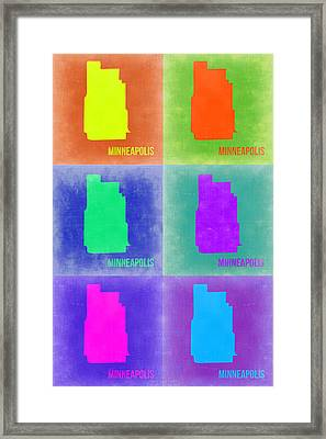 Minneapolis Pop Art Map 3 Framed Print by Naxart Studio