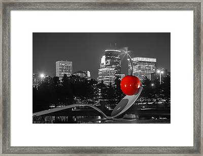 Minneapolis Skyline And Cherry Framed Print