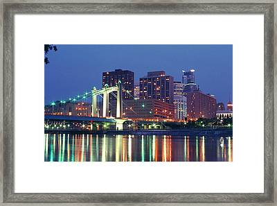 Minneapolis Skyline At Night Framed Print by Heidi Hermes