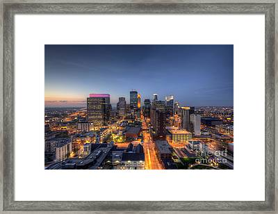 Minneapolis Skyline At Night Framed Print