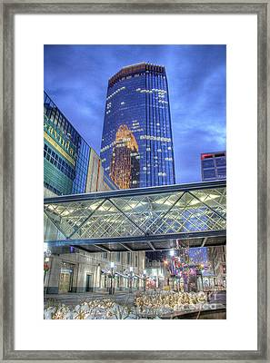 Minneapolis Skyline Photography Nicollet Mall Winter Evening Framed Print by Wayne Moran