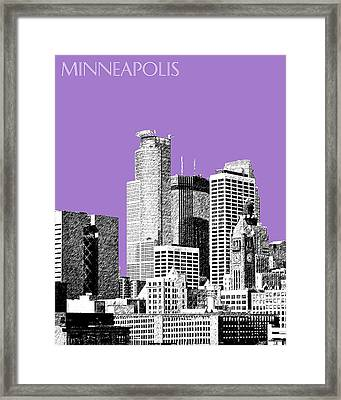 Minneapolis Skyline - Violet  Framed Print by DB Artist