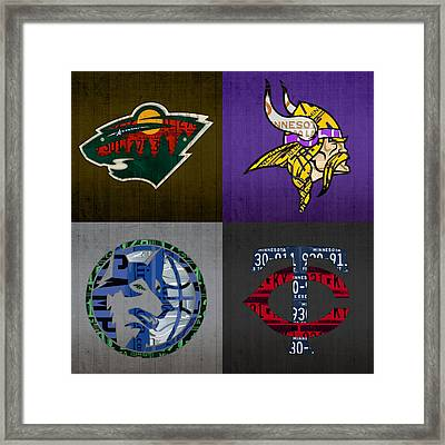 Minneapolis Sports Fan Recycled Vintage Minnesota License Plate Art Wild Vikings Timberwolves Twins Framed Print