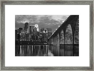 Minneapolis Stone Arch Bridge Bw Framed Print by Wayne Moran