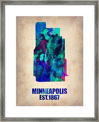 Minneapolis Watercolor Map Framed Print by Naxart Studio