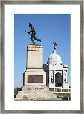Minnesota And Pennsylvania Monuments At Gettysburg Framed Print by William Kuta