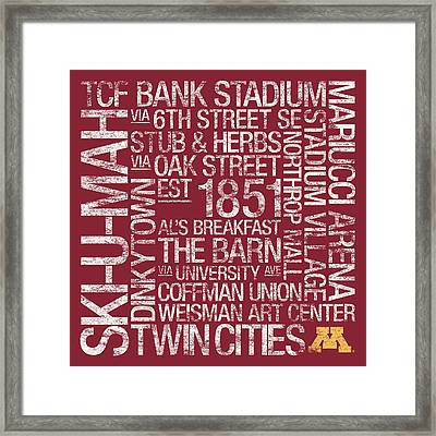 Minnesota College Colors Subway Art Framed Print by Replay Photos
