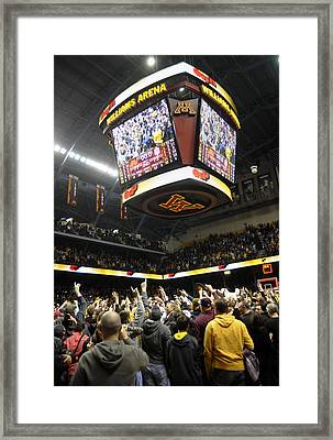 Minnesota Fans Celebrate Victory At Williams Arena Framed Print by Replay Photos