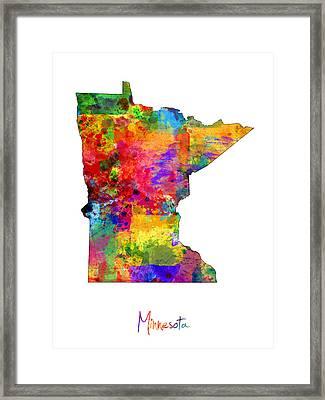 Minnesota Map Framed Print