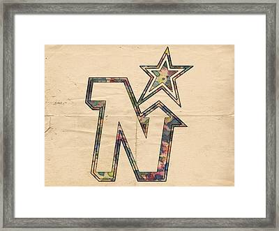 Minnesota North Stars Hockey Art Framed Print