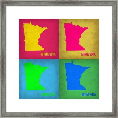 Minnesota Pop Art Map 1  Framed Print by Naxart Studio