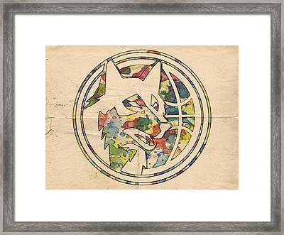 Minnesota Timberwolves Logo Art Framed Print