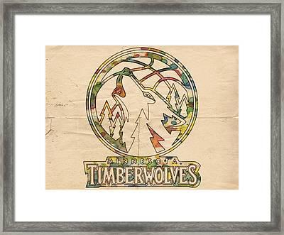 Minnesota Timberwolves Retro Poster Framed Print by Florian Rodarte