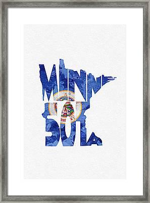 Minnesota Typographic Map Flag Framed Print by Ayse Deniz
