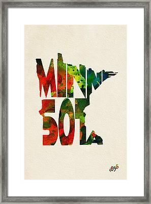 Minnesota Typographic Watercolor Map Framed Print by Ayse Deniz