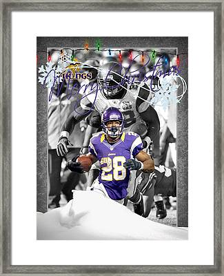 Minnesota Vikings Christmas Card Framed Print