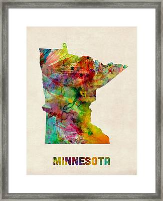 Minnesota Watercolor Map Framed Print