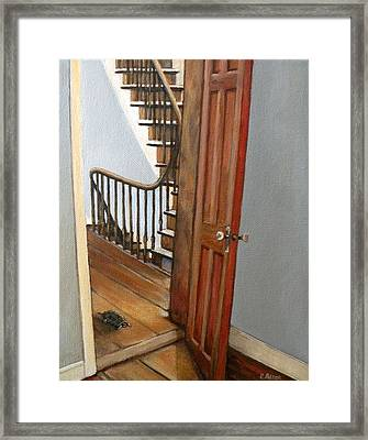 Minnie Crossing The Threshold  Framed Print by Eileen Patten Oliver