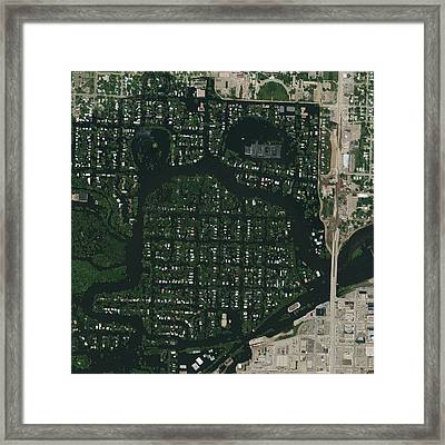 Minot Flooding, Usa, Satellite Image Framed Print by Science Photo Library