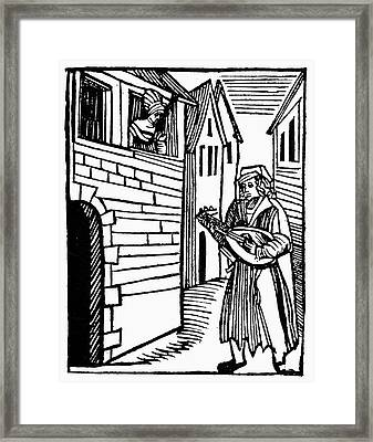 Minstrel, 16th Century Framed Print