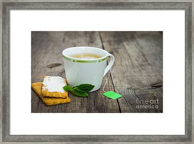 Mint Tea With Cookie Framed Print by Aged Pixel