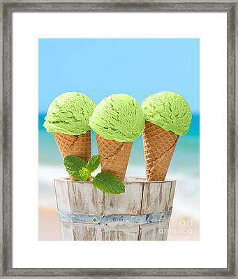 Minty Ice Creams Framed Print