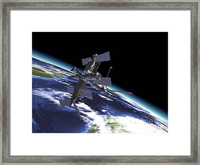 Mir Russian Space Station In Orbit Framed Print by Leonello Calvetti