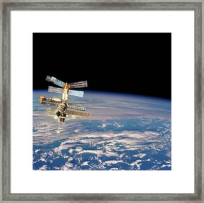 Mir Space Station From Space Shuttle Framed Print by Nasa