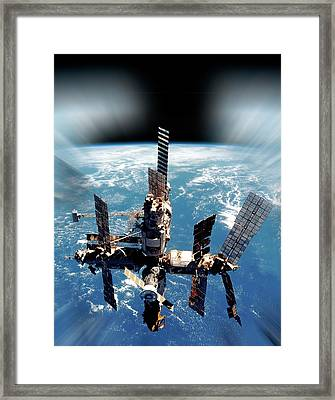 Mir Space Station In Orbit Framed Print