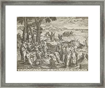 Miraculous Fishing And Miraculous Feeding Framed Print