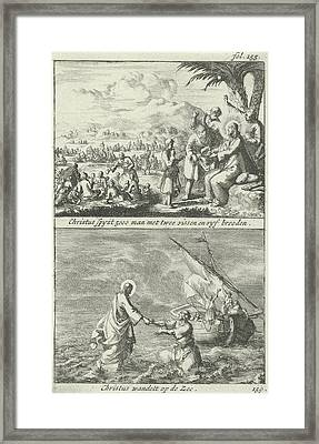 Miraculous Multiplication Of Loaves And Fishes By Christ Framed Print