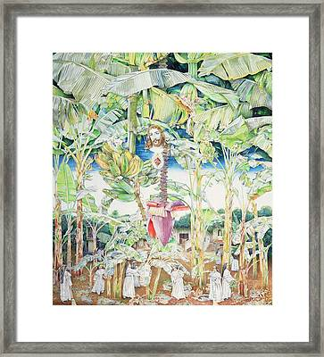 Miraculous Vision Of Christ In The Banana Grove, 1989 Oil On Canvas Framed Print by James Reeve