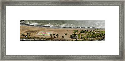 Miraflores Beach Panorama Framed Print by Allen Sheffield