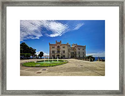 Miramare Castle With Fountain Framed Print by Ivan Slosar
