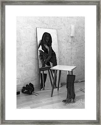 Framed Print featuring the digital art Mirror 5 by Evgeniy Lankin
