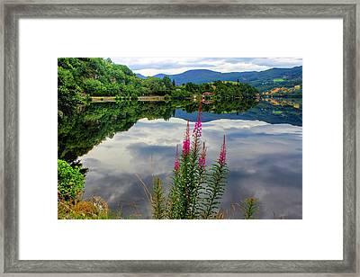Mirror Lake Bjorheimsvatnet In Rogaland  Framed Print