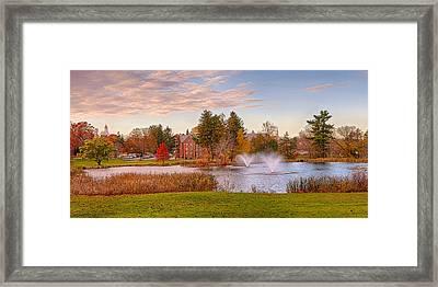 Mirror Lake Uconn Sunset Framed Print by Steve Pfaffle